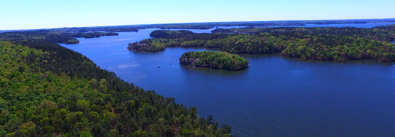 aerial view of lake martin
